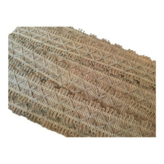 Kravet Trims-Flat Natural Jute W/Beige Ultra-Suede Xs/Diamonds- 10+yards+Beige &Brown Tassel For Sale