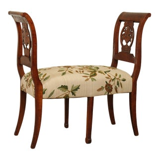 Antique French Country Carved Fruitwood Bench with Crewelwork Seat For Sale