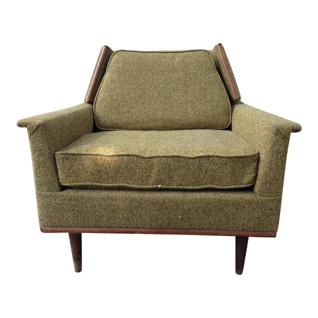 1960s Mid-Century Modern Army Green Wool Side Chair For Sale