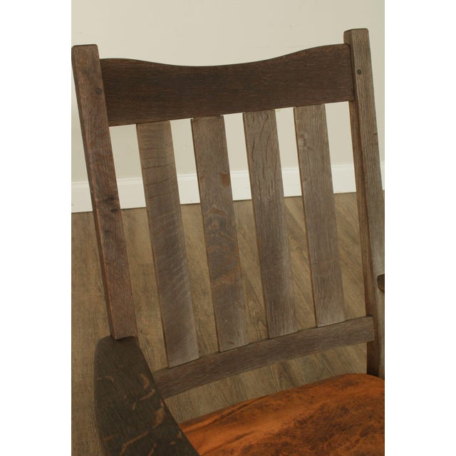 Antique Mission Oak Wcathered Rocker For Sale - Image 10 of 13