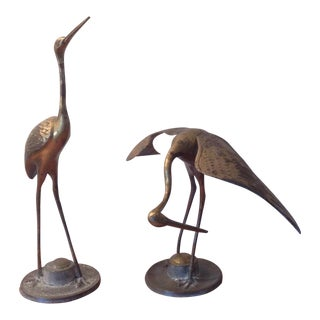 Large Vintage Set Brass Crane Egret Heron/Stork Metal Figurines 19 Tall - 11 Tall For Sale