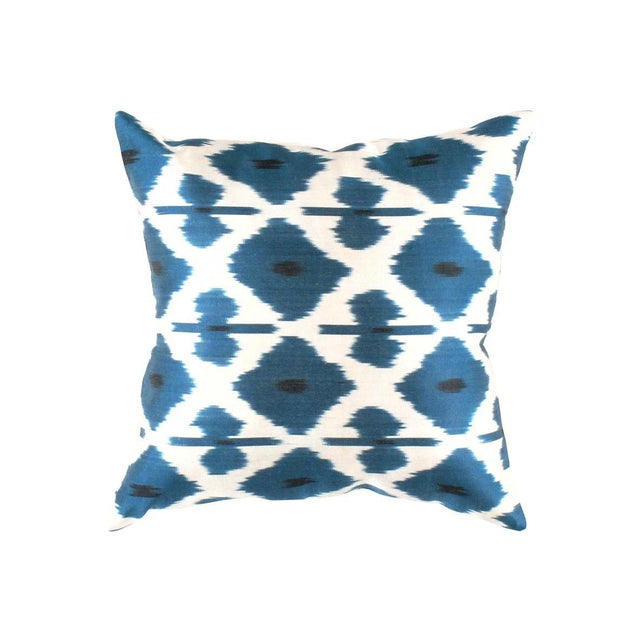 Contemporary Pasargad Oasis Collection Silk Velvet Ikat Pillow For Sale - Image 3 of 4