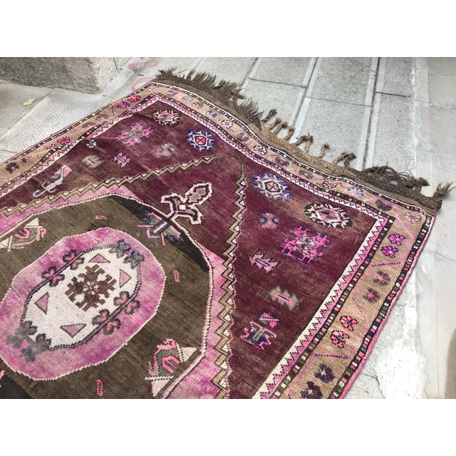 """Textile 1970's Vintage Caucasian Handmade Pink Runner-4'9'x14"""" For Sale - Image 7 of 11"""