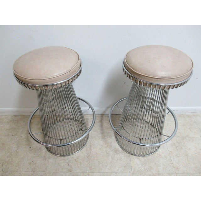 Vintage Chrome Wire Cone Bar Stools - A Pair - Image 4 of 11