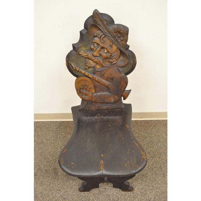 Antique Hand Carved Wood Figural Bard Musician Medieval Gothic Tavern Side Chair For Sale - Image 4 of 11