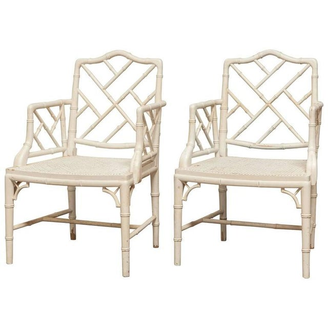 Chinese Chippendale Faux Bamboo Armchairs - Pair - Image 1 of 8