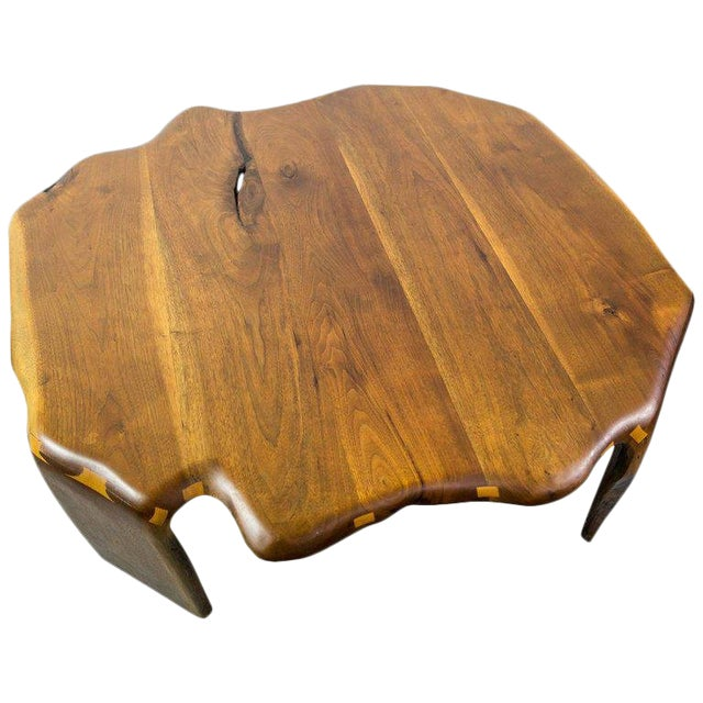 One of a Kind James Monroe Camp Studio Coffee Table in Walnut Usa 1975 For Sale