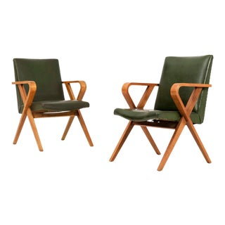 1940s Vintage Henry Glass Armchairs- A Pair For Sale