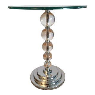 Contemporary Lucite Ball and Chrome Side Table With Round Glass Top For Sale