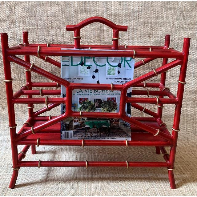 Chinoiserie Maison Bagues Style Metal Bamboo Motif Magazine Rack For Sale - Image 3 of 7