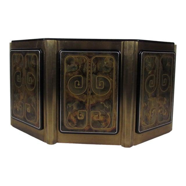 Stunning Mastercraft Demilune Console Cabinet by Bernhard Rohne For Sale