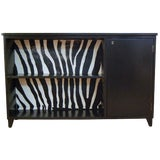 Image of Swedish Art Moderne Black Writing Desk With Zebra Hair Hide For Sale