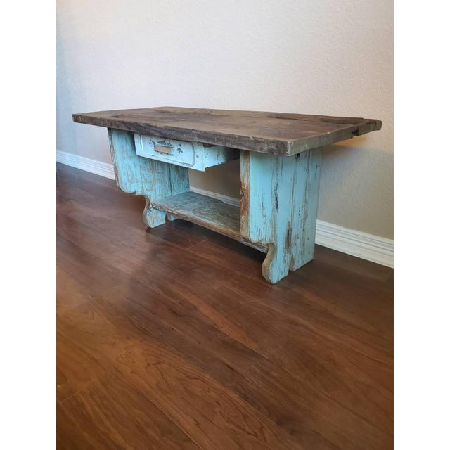 Antique Rustic American Country Farmhouse Wooden Bench For Sale - Image 11 of 11