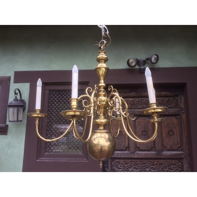 Large Dutch Style Brass Chandelier For Sale - Image 10 of 11
