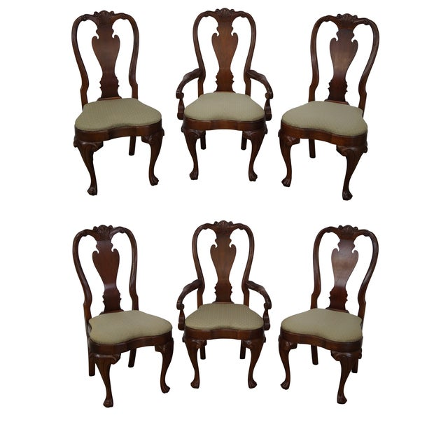 Walnut Georgian Queen Anne Dining Chairs - 6 - Image 1 of 10