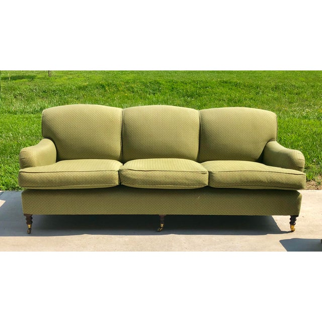 Brass Modern George Smith Standard Roll Arm Sofa For Sale - Image 7 of 7