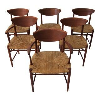 1950s Vintage Peter Hvidt & Orla Mølgaard-Nielsen Teak and Cord Dining Chairs - Set of 6 For Sale