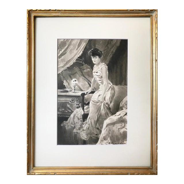 C.1890 Antique Watercolor Painting Victorian Boudoir For Sale