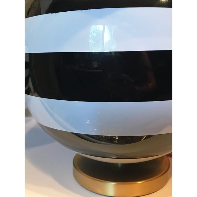 This listing is for two (2) NWT Kate Spade lamps. Who does not need a set of striped black and white striped table lamps...