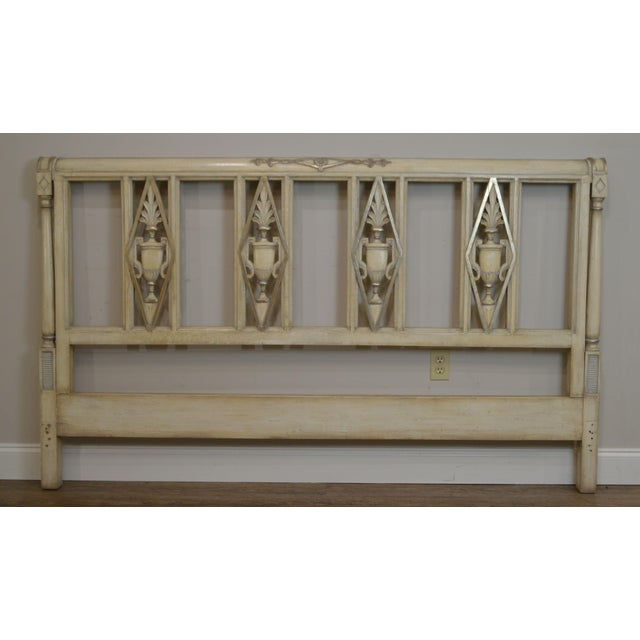 Wood French Regency Directoire Style Vintage Custom Painted King Headboard For Sale - Image 7 of 13