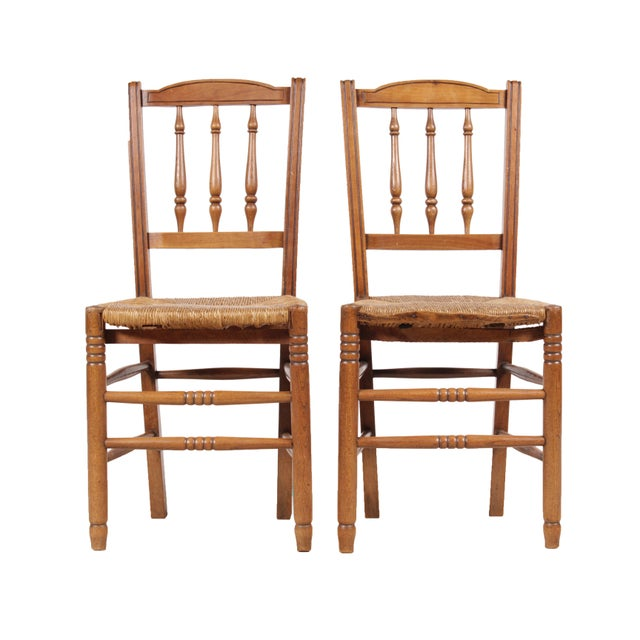 Country French 1940s Rush Chairs - Set of 4 - Image 2 of 9