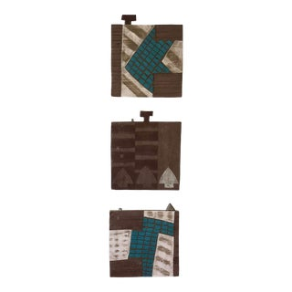 20th Century Abstract American Studio Tile Incised Pottery Wall Sculptures - Set of 3 For Sale