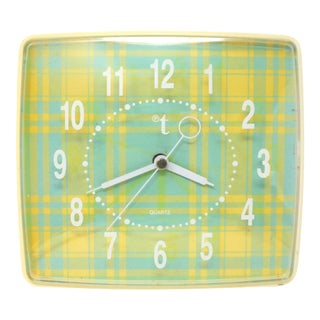 Vintage Rectangular Plaid Wall Clock For Sale