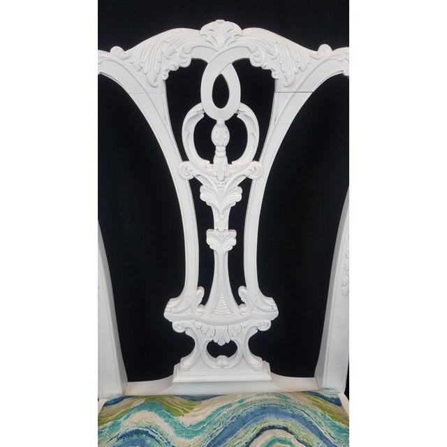 Paint Set of 6 White Chippendale Dining Chairs For Sale - Image 7 of 12