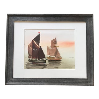 Vintage Sailboat Seascape Watercolor Signed