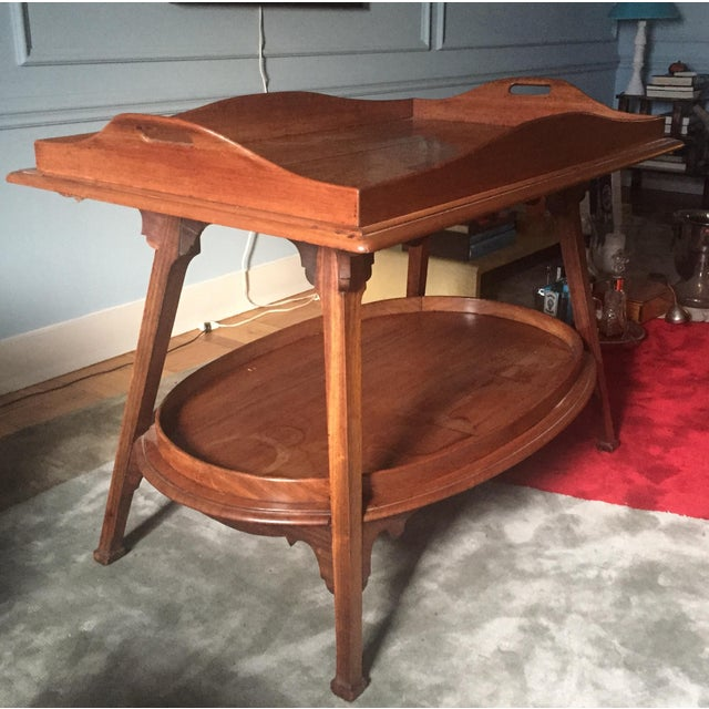 A 1910, Belgian Art Nouveau butlers table. In fine condition for its age, all it needs is a little colored wax polish to...