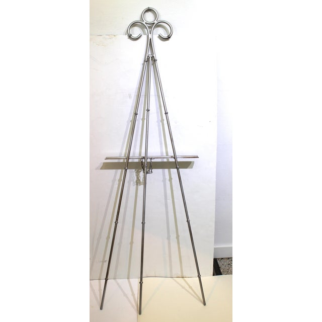 Metal Vintage Display Easel Silver Toned Iron For Sale - Image 7 of 9