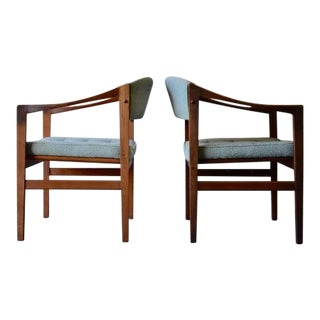 Tufted Mid Century Modern Walnut Armchairs, a Pair For Sale