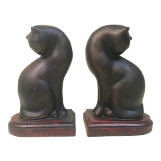Contemporary Black Cat Bookends - a Pair For Sale