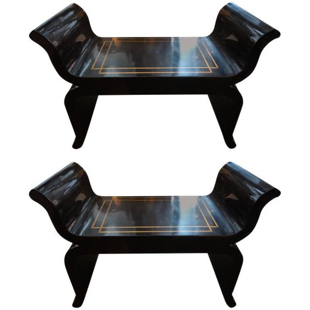 James Mont 1960's Vintage James Mont Style Hollywood Regency Black Lacquered Benches- A Pair For Sale - Image 4 of 10
