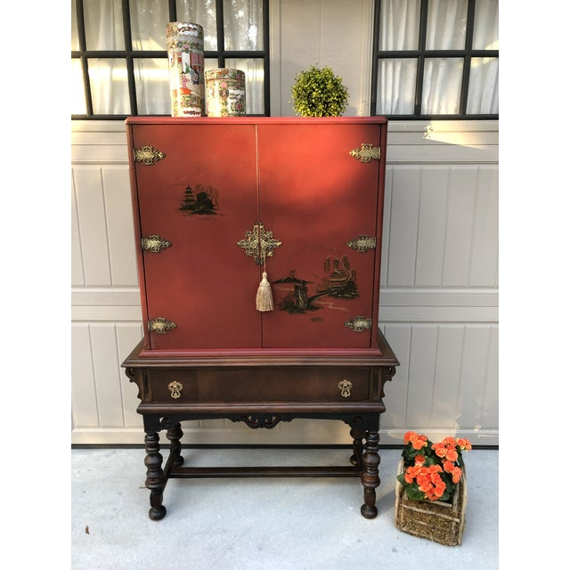 Chinese Red Cabinet or Dry Bar For Sale - Image 10 of 13