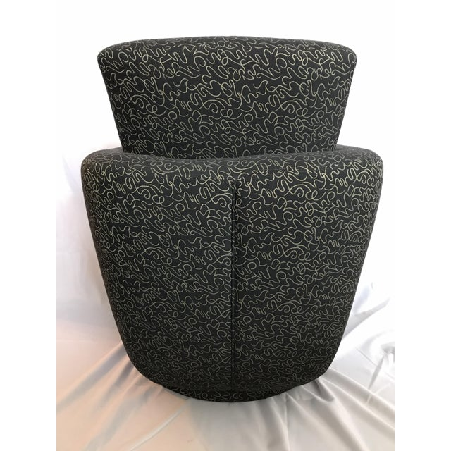 Postmodern Vintage Swivel Upholstered Bucket Chair For Sale - Image 4 of 7