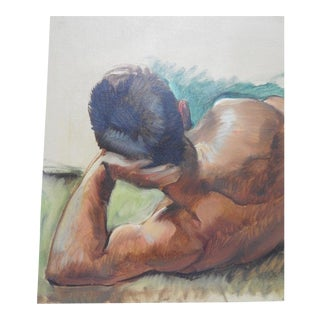 """Robert Whitmore """"Male at Rest"""" Oil Painting Early 20th Century For Sale"""