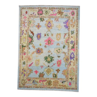 Contemporary Turkish Oushak Rug - 9′4″ × 13′3″, Pastel For Sale