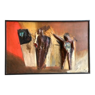 Vintage 1960's Large Original Relief Mixed Media Abstract Figural Painting Signed 31 X 49 For Sale