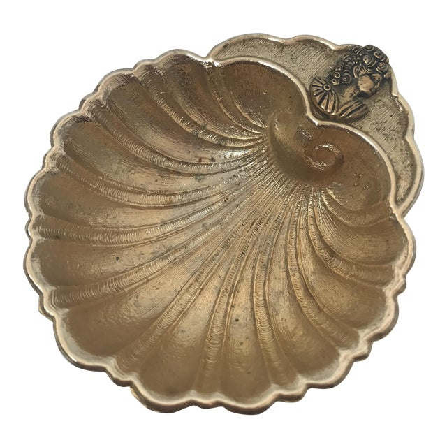 Vintage Footed Brass Shell Catch All Bowl - Image 1 of 7
