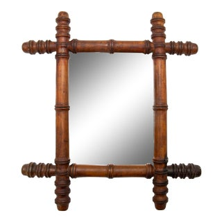 Late 19th Century Antique French Faux Bamboo Carved Mirror For Sale
