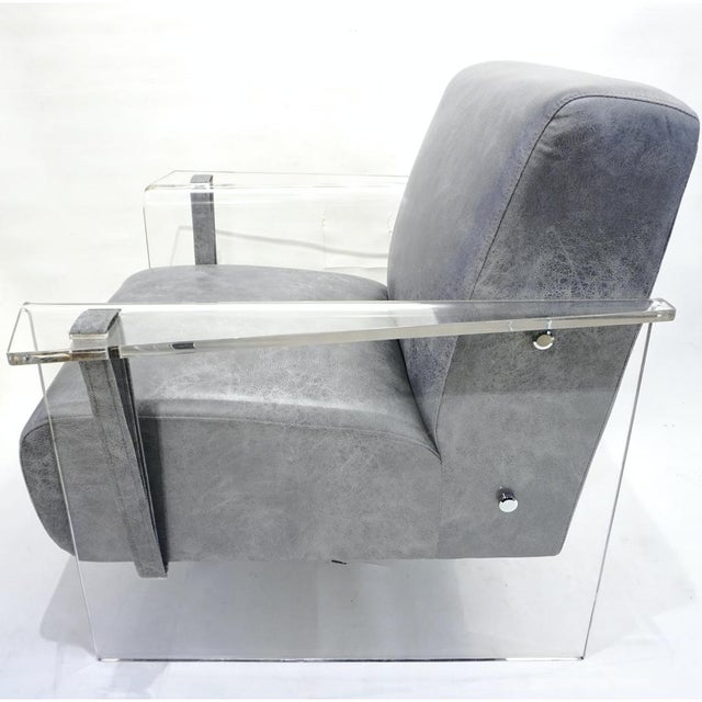 Gray Bespoke Modernist Lucite Acrylic Lounge Armchair - in Showroom For Sale - Image 8 of 12