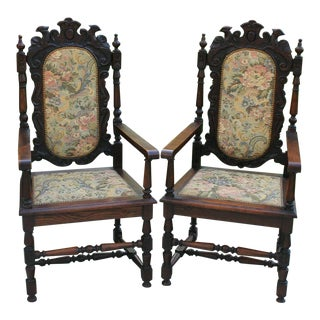 Late 19th Century Antique English Oak Chairs Needlepoint Throne Fireside Chairs- A Pair For Sale