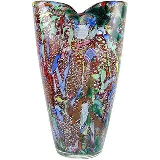 Vintage Mid Century AVeM Murano Red Millefiori Silver Flecks Ribbon Italian Glass Flower Vase For Sale