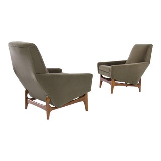 Scandinavian Modern Olive Velvet on Sculptural Teak Base Lounge Chairs - a Pair For Sale
