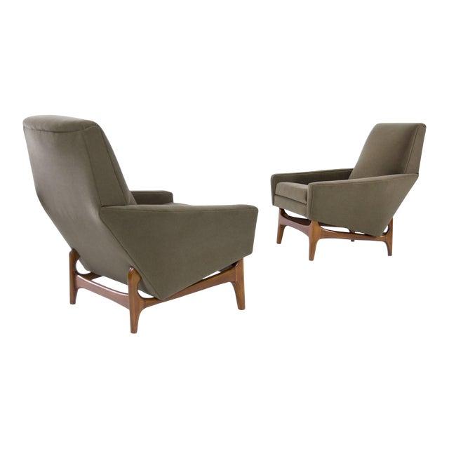 Scandinavian Modern Olive Velvet on Sculptural Teak Base Lounge Chairs - a Pair For Sale