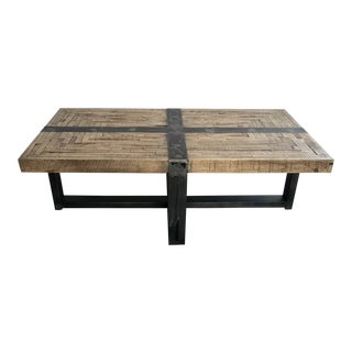 Industrial Custom Made Salvaged Wood Coffee Table With Metal Detail For Sale