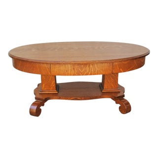 1900s Antique American Tiger Oak Solid Beveled Top Oval Coffee Table