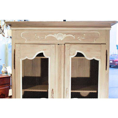 French Provincial Louis XV Style Grey Painted Armoire For Sale - Image 6 of 10