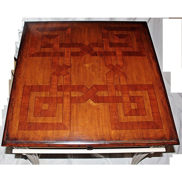 Neoclassical Revival Parquetry-Top Painted Side-Table For Sale - Image 3 of 8